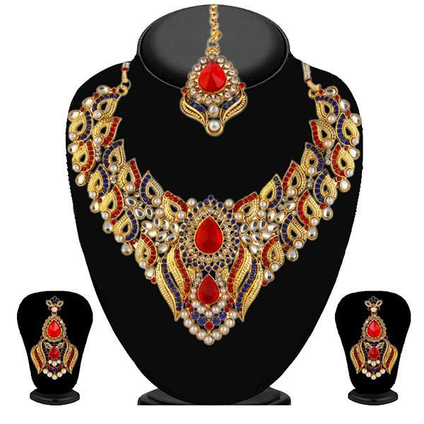 Kriaa Blue Stone & Pearl Necklace Set With Maang Tikka - 2102204