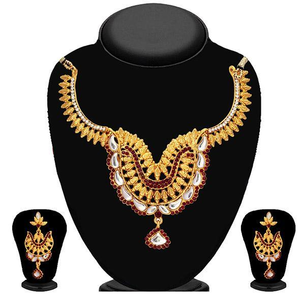 Kriaa White Kundan Stone Gold Plated Necklace Set - 2102302