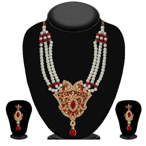 Kriaa Gold Plated Maroon Stone Necklace Set - 2102702