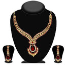 Kriaa Maroon Austrian Stone Gold Plated Necklace Set - 2102804