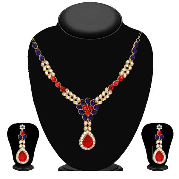 Kriaa Blue And Red Kundan Stone And Necklace Set