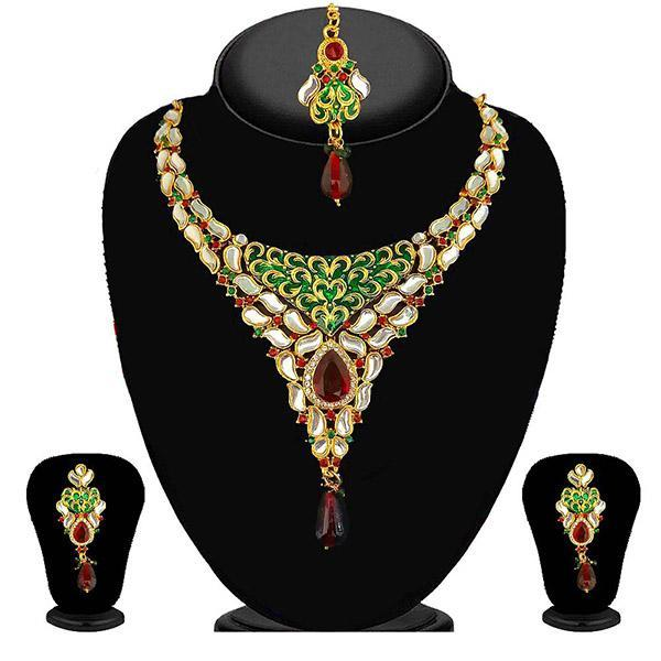Kriaa Green Stone Necklace Set With Maang Tikka - 2103503