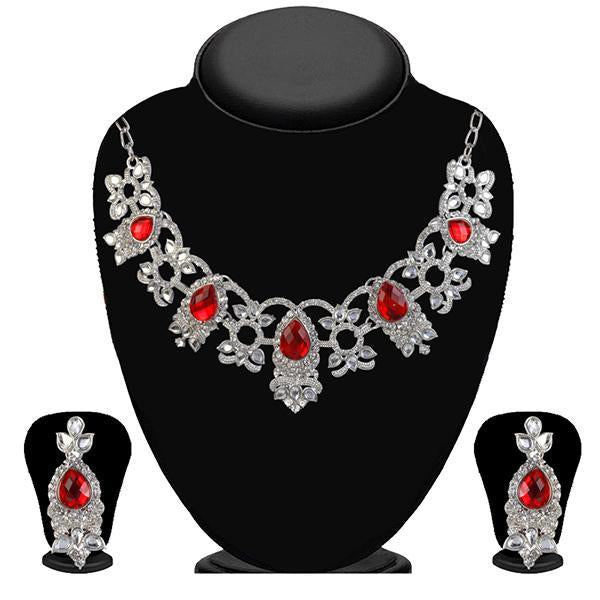 Kriaa Gold Plated Maroon Austrian Stone Necklace set - 2103802