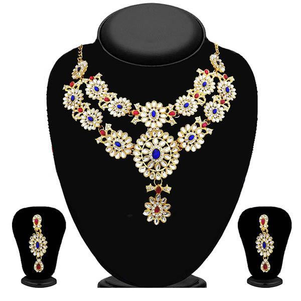Kriaa Kundan Gold Plated Stone Layer Necklace Set - 2105601