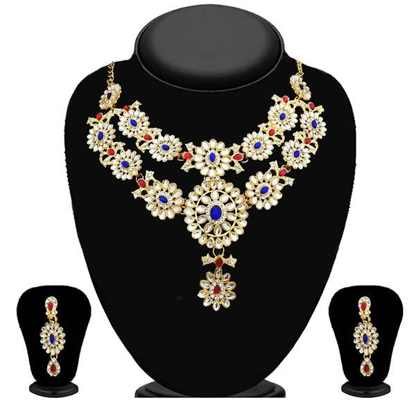 Kriaa Kundan Gold Plated Stone Layer Necklace Set