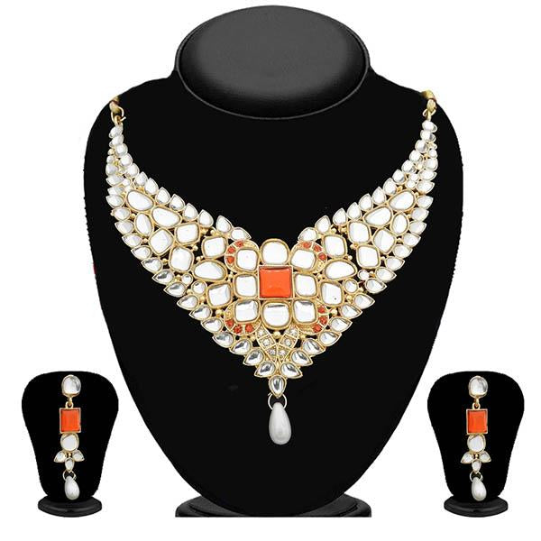 Kriaa Kundan Gold Plated Stone Necklace Set