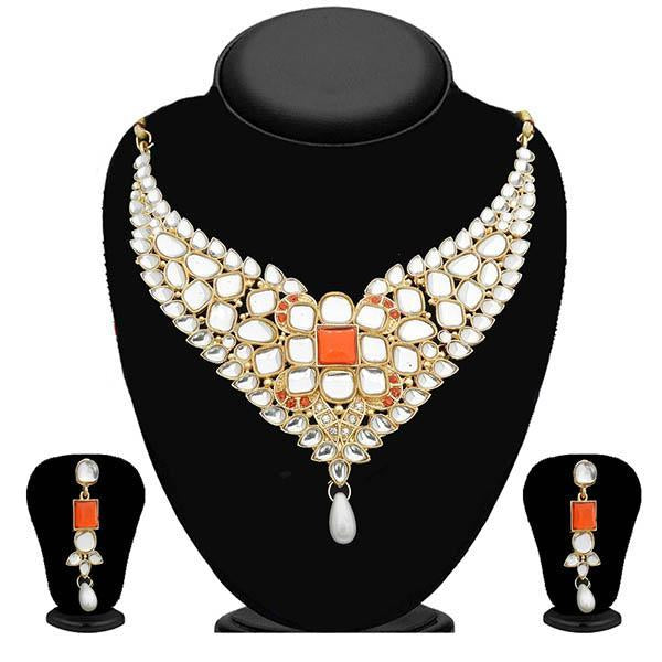 Kriaa Kundan Gold Plated Stone Necklace Set - 2105612