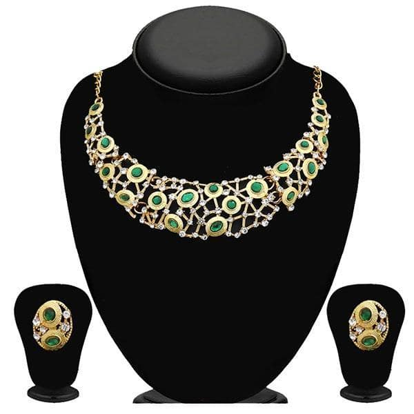 Kriaa Green Stone Kundan Gold Plated Necklace Set - 2105613