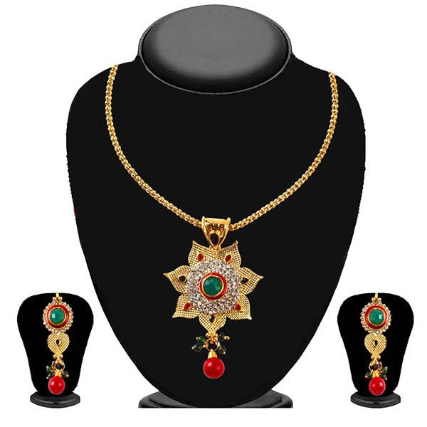 Soha Fashion Red And Green Stone Drop Pendant Set