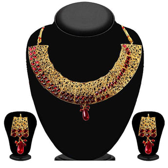 Soha Fashion Gold Plated Maroon Kundan Necklace Set