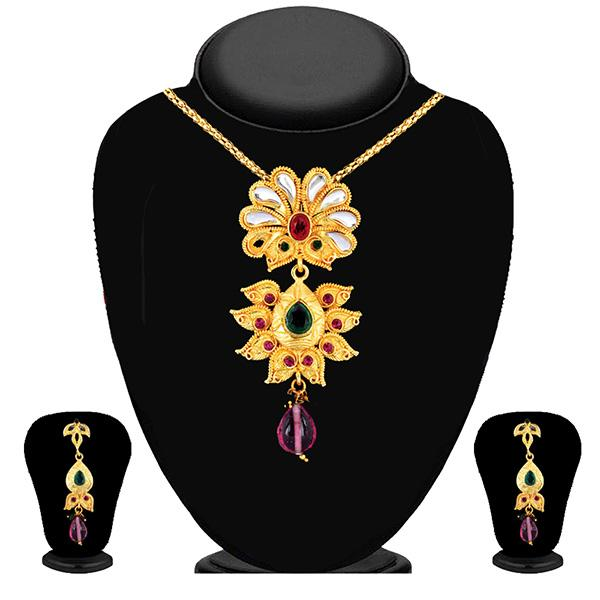 Soha Fashion Multicolour Kundan Drop Pendant Set