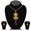 Soha Fashion Gold Plated Red Austrian Stone Pendant Set