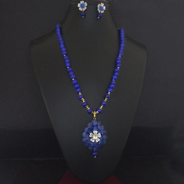 Kriaa Blue Beads And Kundan Gold Plated Necklace Set - 2800324C