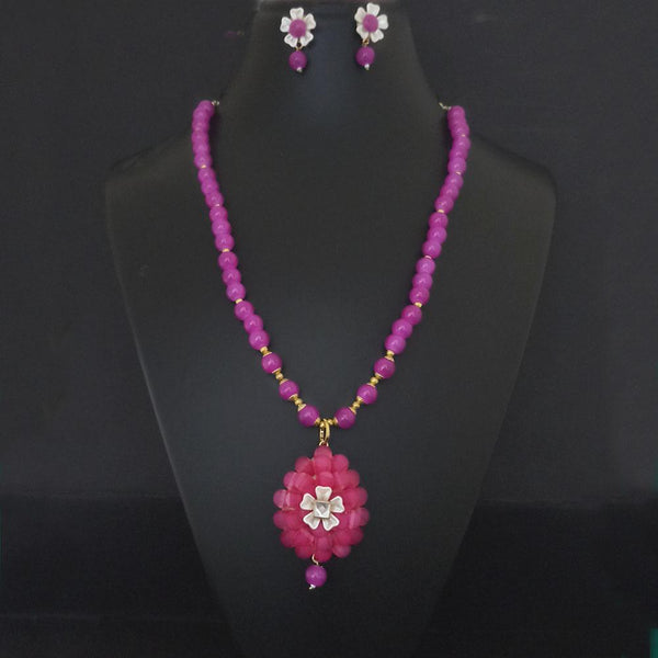 Kriaa Pink Beads And Kundan Gold Plated Necklace Set - 2800324F