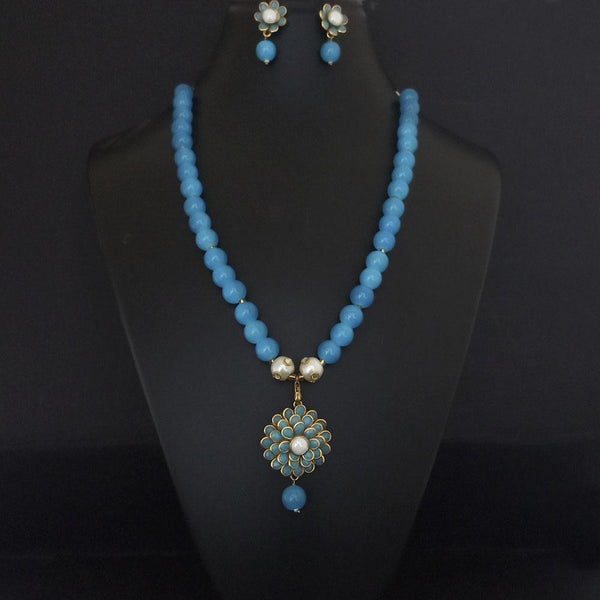 Kriaa Blue Beads And Pearl Gold Plated Necklace Set - 2800325A