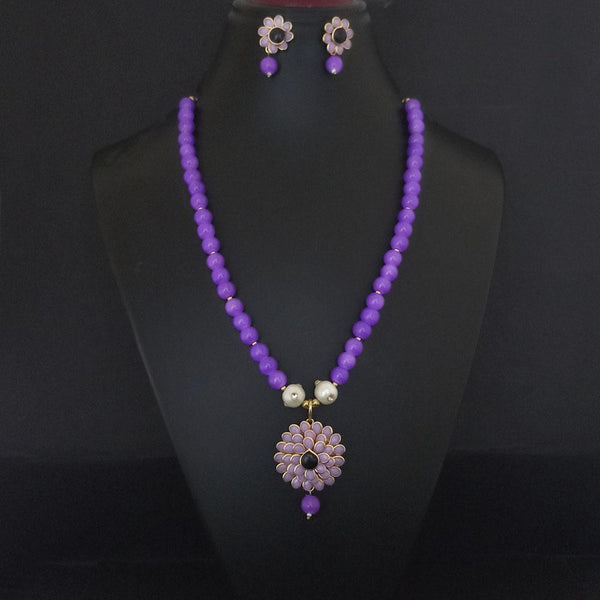 Kriaa Purple Beads And Pearl Gold Plated Necklace Set - 2800325B