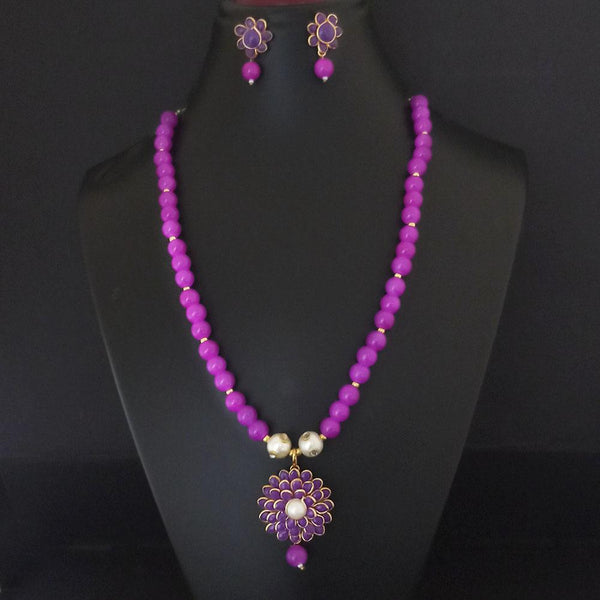 Kriaa Pink Beads And Pearl Gold Plated Necklace Set - 2800325H