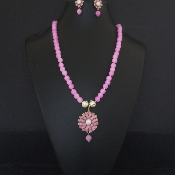 Kriaa Pink Beads And Pearl Gold Plated Necklace Set - 2800325K