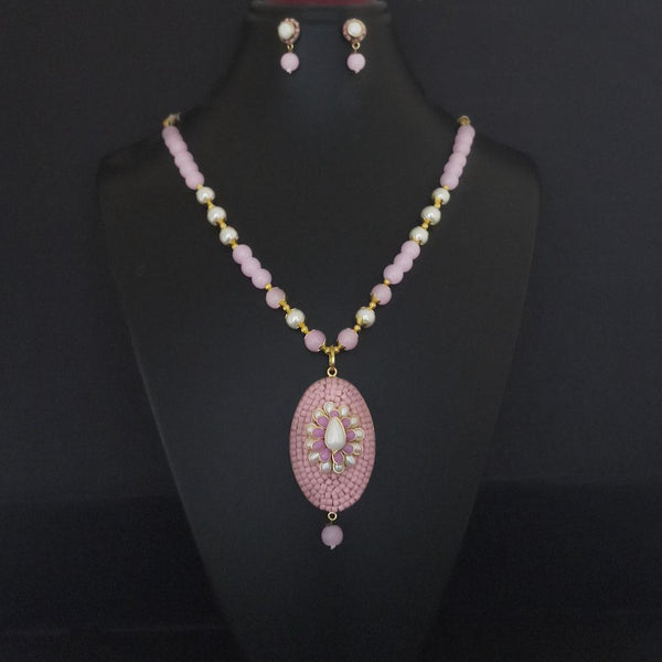 Kriaa Pink Beads And Kundan Gold Plated Necklace Set - 2800326A