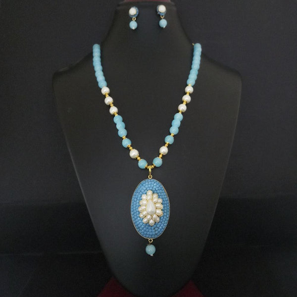 Kriaa Blue Beads And Pearl Gold Plated Necklace Set - 2800326B