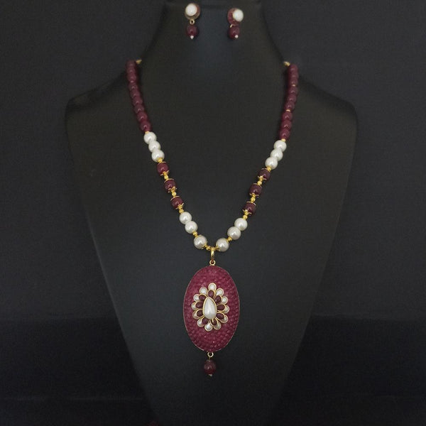 Kriaa Maroon Beads And Pearl Gold Plated Necklace Set - 2800326D