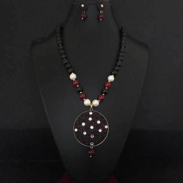 Kriaa Maroon Beads And Kundan Gold Plated Necklace Set - 2800334
