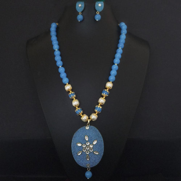 Kriaa Blue Beads And Kundan Gold Plated Necklace Set - 2800335