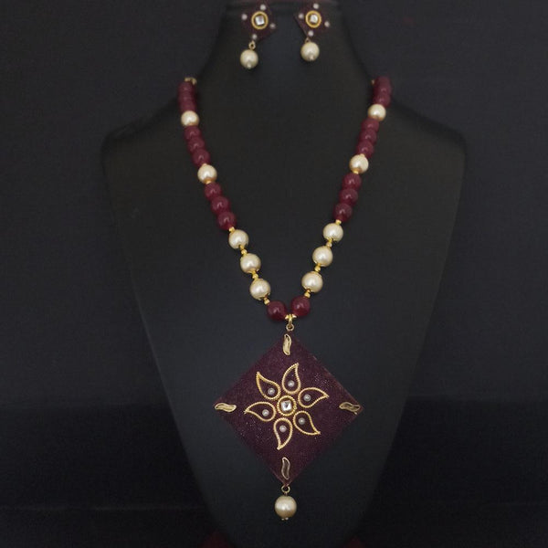 Kriaa Maroon Beads And Kundan Gold Plated Necklace Set - 2800337