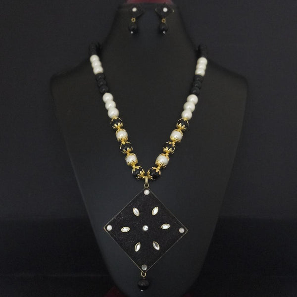 Kriaa Black Beads And Kundan Gold Plated Necklace Set - 2800338
