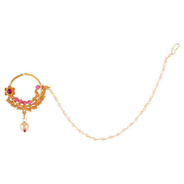 Femmibella Gold Plated Ruby Studded Nose Ring with Single Pearl Embedded Chain for Women