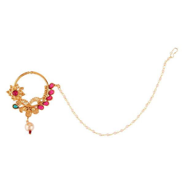 Femmibella Gold Plated Floral Design Ruby Studded Nose Ring with Single Pearl Embedded Chain for Women