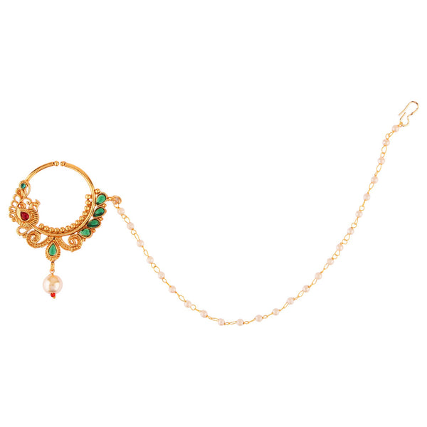 Femmibella Gold Plated Peacock Pattern Polki Studded Nose Ring with Single Pearl Embedded Chain for Women