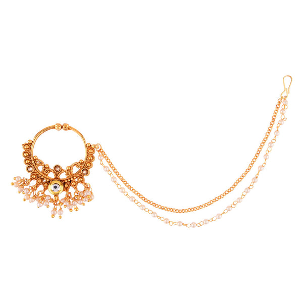 Femmibella Gold Plated Kundan Studded with Hanging Pearl Nose Ring with Multilayered Pearl Embedded Chain for Women