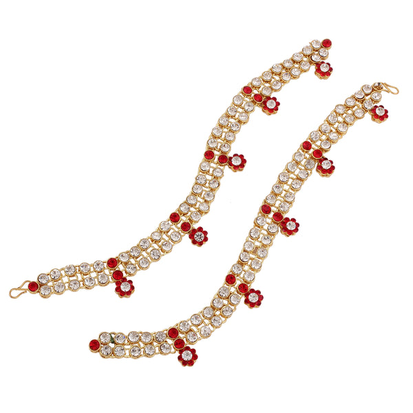 I Jewels Traditional Gold Plated Elegantly Handcrafted Stone Studded Payal/ Anklets