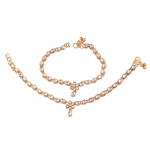 I Jewels Traditional Gold Plated Kundan Payal /Anklets