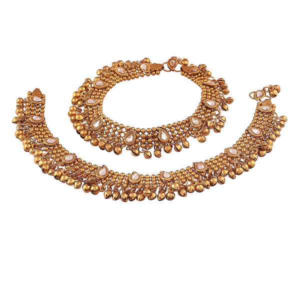 I Jewels Traditional Gold Plated Kundan Anklets