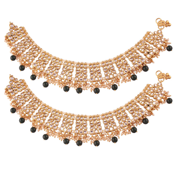 I Jewels Gold Plated Bridal Kundan Anklets For Women (A022G)