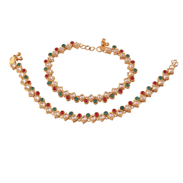 I Jewels Gold Plated Traditional Kundan Anklets For Women (A023MG)