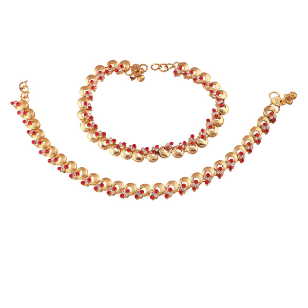 I Jewels Gold Plated Traditional Kundan Anklets For Women (A024R)