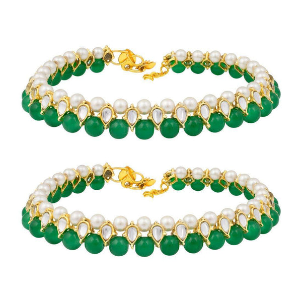 I Jewels Traditional Gold Plated Kundan Pearl Anklets Payal For Girls & Women (A030G)