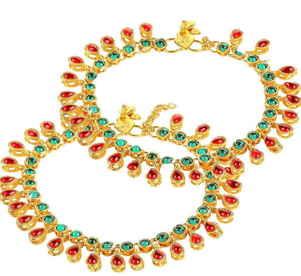 I Jewels Traditional Gold Plated Kundan Anklets Payal For Girls & Women (A031MG)