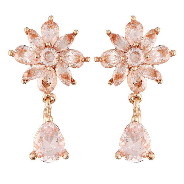 I Jewels Rose Gold Plated Fancy CZ Earrings For Women (A83E06RG)