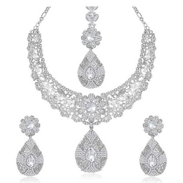 Kriaa Silver Plated Austrian Stone Necklace Set With Maang Tikka - 1105313
