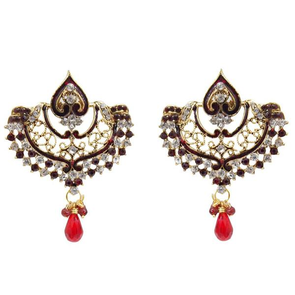 Kriaa Gold Plated Austrian Stone Meenakari Chandbali Earrings