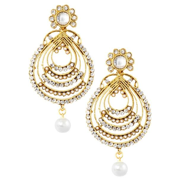 Kriaa Austrian Stone Gold Plated Dangler Earrings - 1303702