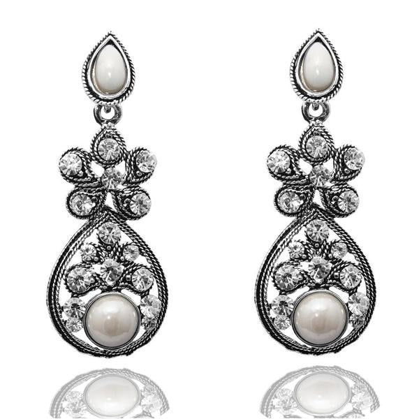 The99jewel White Peral Stone Silver Plated Dangler Earrings - 1304516