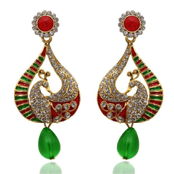The99Jewel  Meenakari Dangler Peacock Earrings