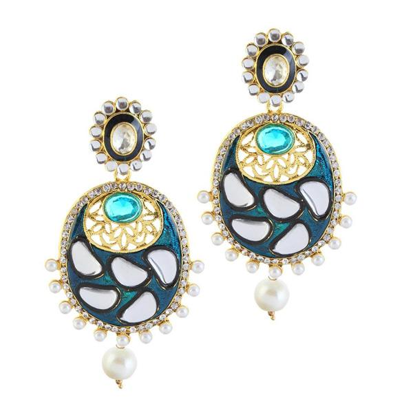 Kriaa Blue Meenakari Gold Plated Kundan Dangler Earrings