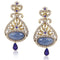 Kriaa Blue Austrian Stone Drop Gold Plated Dangler Earring
