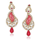 Kriaa Pink Austrian Stone Drop Gold Plated Dangler Earring